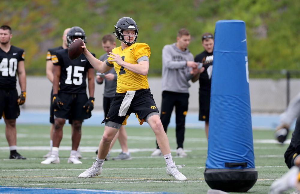 Iowa Hawkeyes quarterback Spencer Petras (7) during practice Sunday, December 22, 2019 at Mesa College in San Diego. (Brian Ray/hawkeyesports.com)
