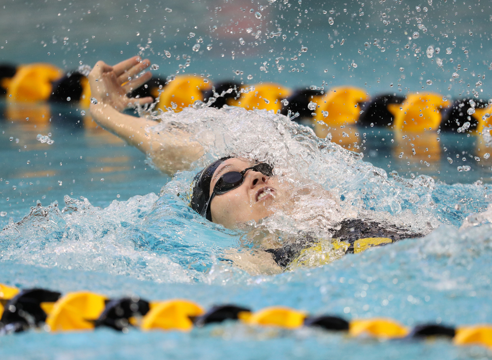 Iowa's Samantha Sauer swims the 100 yard backstroke during a double dual against Wisconsin and Northwestern Saturday, January 19, 2019 at the Campus Recreation and Wellness Center. (Brian Ray/hawkeyesports.com)