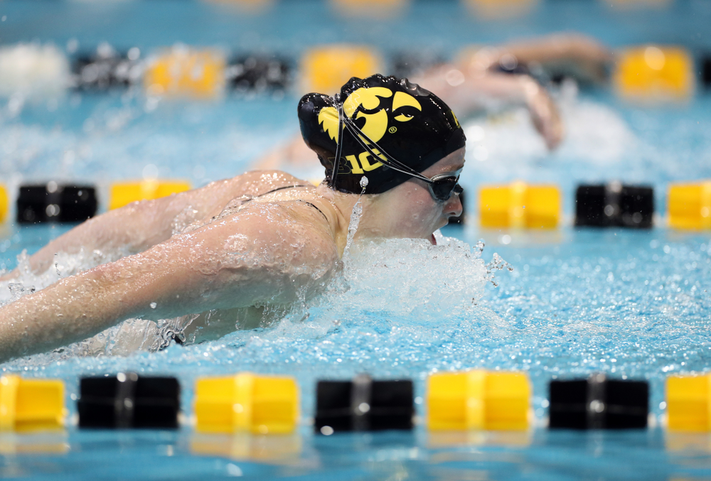 IowaÕs Kelsey Drake swims the 200 yard butterfly against the Michigan Wolverines Friday, November 1, 2019 at the Campus Recreation and Wellness Center. (Brian Ray/hawkeyesports.com)