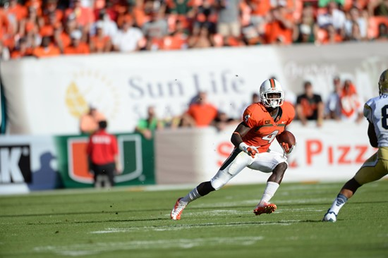 University of Miami Hurricanes wide receiver Phillip Dorsett #4 plays in a game against the Georgia Tech Yellow Jackets at Sun Life Stadium on October...