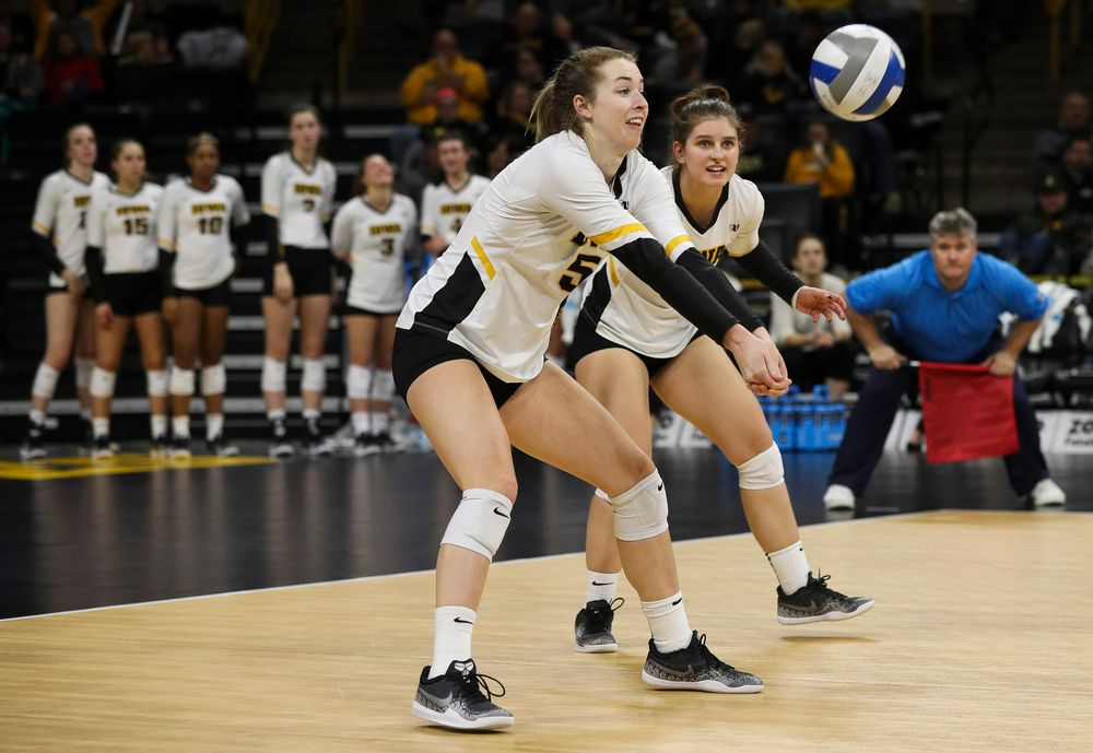 Iowa Hawkeyes outside hitter Meghan Buzzerio (5) bumps the ball during a match against Maryland at Carver-Hawkeye Arena on November 23, 2018. (Tork Mason/hawkeyesports.com)