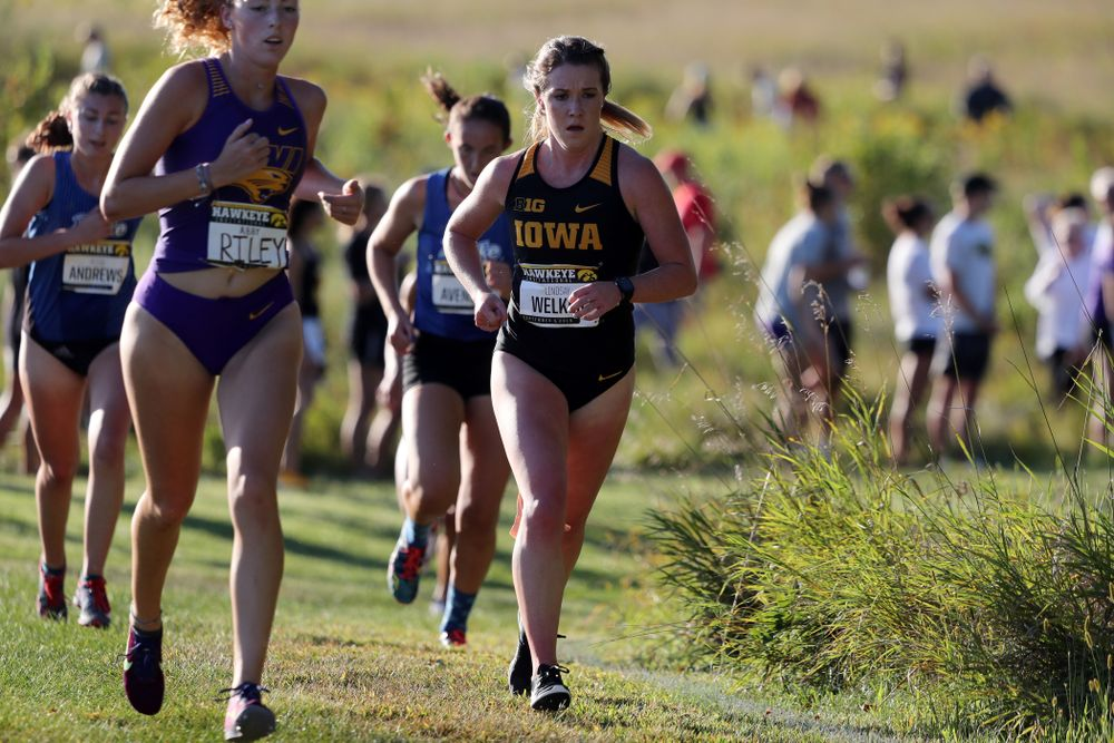 IowaÕs Lindsey Welker runs in the 2019 Hawkeye Invitational Friday, September 6, 2019 at the Ashton Cross Country Course. (Brian Ray/hawkeyesports.com)