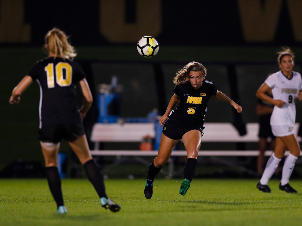 Iowa Hawkeyes Riley Whitaker (5) against the Purdue Boilermakers Thursday, September 20, 2018 at the Iowa Soccer Complex. (Brian Ray/hawkeyesports.com)