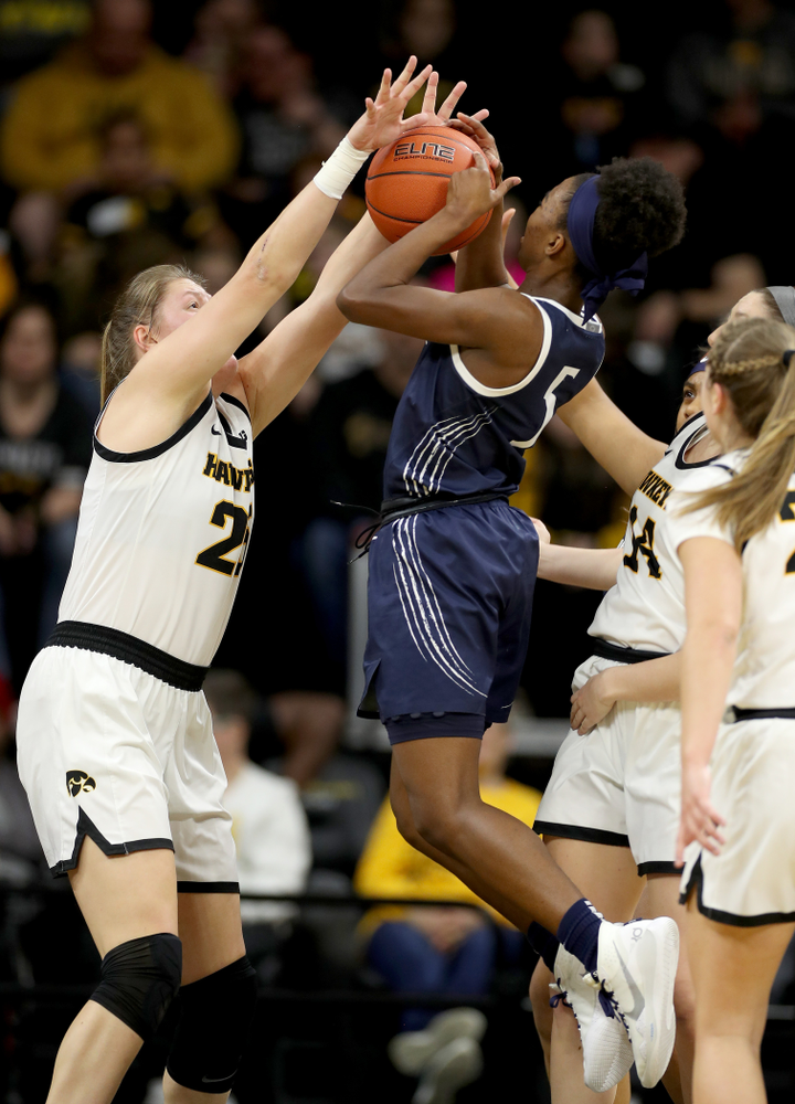 Iowa Hawkeyes forward/center Monika Czinano (25) blocks a shot against Penn State Saturday, February 22, 2020 at Carver-Hawkeye Arena. (Brian Ray/hawkeyesports.com)