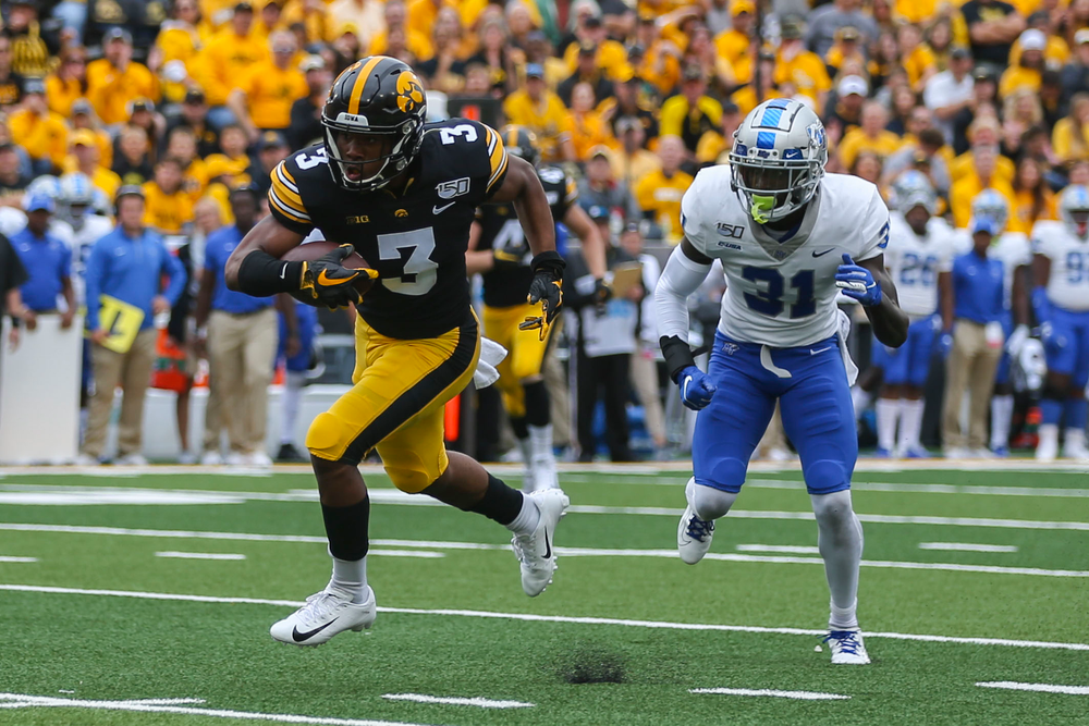Iowa Hawkeyes wide receiver Tyrone Tracy Jr. (3) against Middle Tennessee Saturday, September 28, 2019 at Kinnick Stadium. (Lily Smith/hawkeyesports.com)