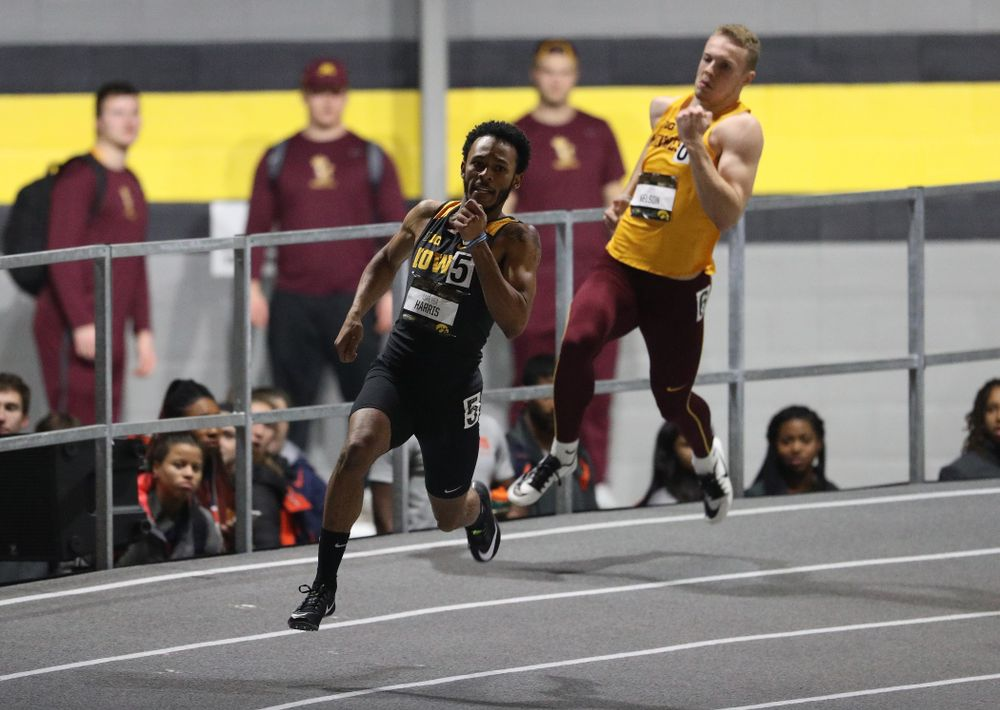 Iowa's Mar'Yea Harris runs the 200 meter premier during the 2019 Larry Wieczorek Invitational Friday, January 18, 2019 at the Hawkeye Tennis and Recreation Center. (Brian Ray/hawkeyesports.com)