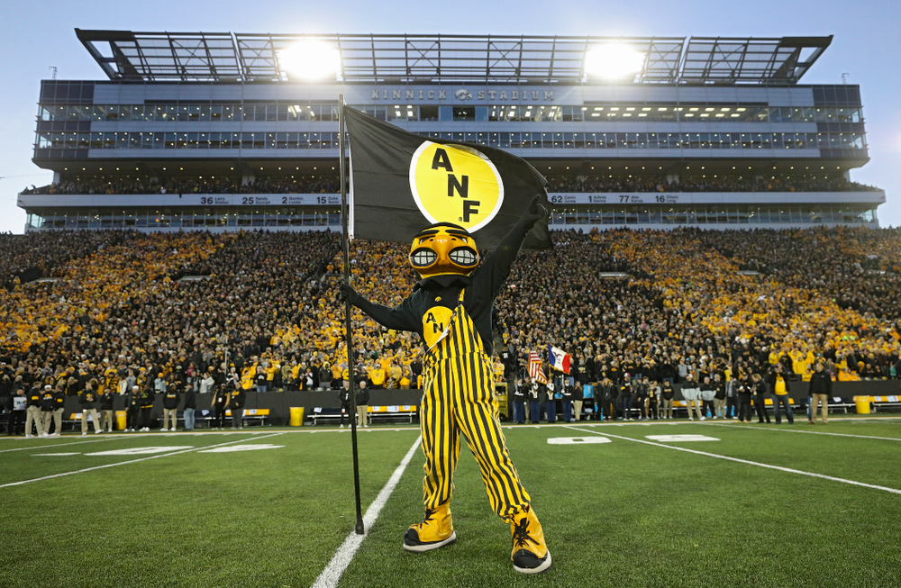 Herky plants an ANF flag after taking the field before their game at Kinnick Stadium in Iowa City on Saturday, Oct 12, 2019. (Stephen Mally/hawkeyesports.com)