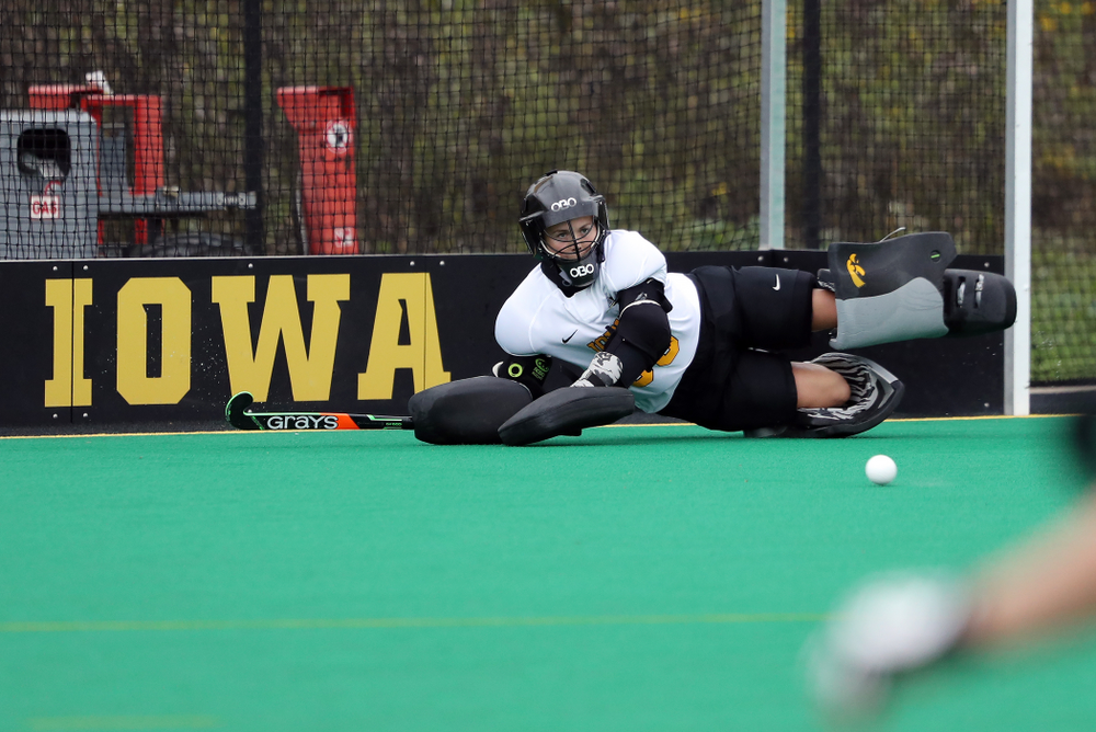 Iowa Hawkeyes goaltender Leslie Speight (96) during a 2-1 victory against the Ohio State Buckeyes Friday, September 27, 2019 at Grant Field. (Brian Ray/hawkeyesports.com)