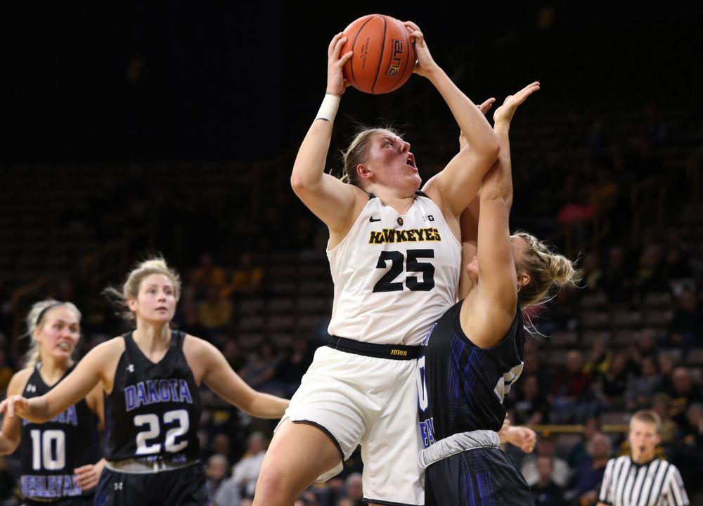 Iowa Hawkeyes forward/center Monika Czinano (25) against Dakota Wesleyan University Tuesday, November 6, 2018 at Carver-Hawkeye Arena. (Brian Ray/hawkeyesports.com)