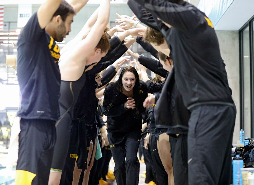 Iowa's Hannah Burvill is honored on senior day before their meet at the Campus Recreation and Wellness Center in Iowa City on Friday, February 7, 2020. (Stephen Mally/hawkeyesports.com)