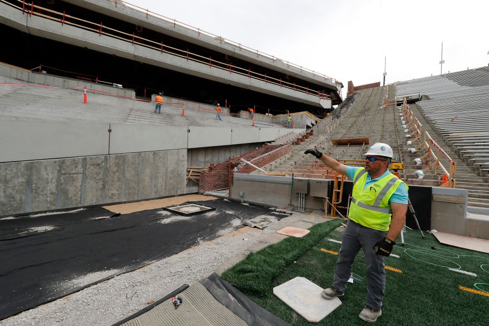 University of Iowa Senior Construction Project Manager Michael Kearns talks about the north end zone project Wednesday, June 6, 2018 at Kinnick Stadium. (Brian Ray/hawkeyesports.com)