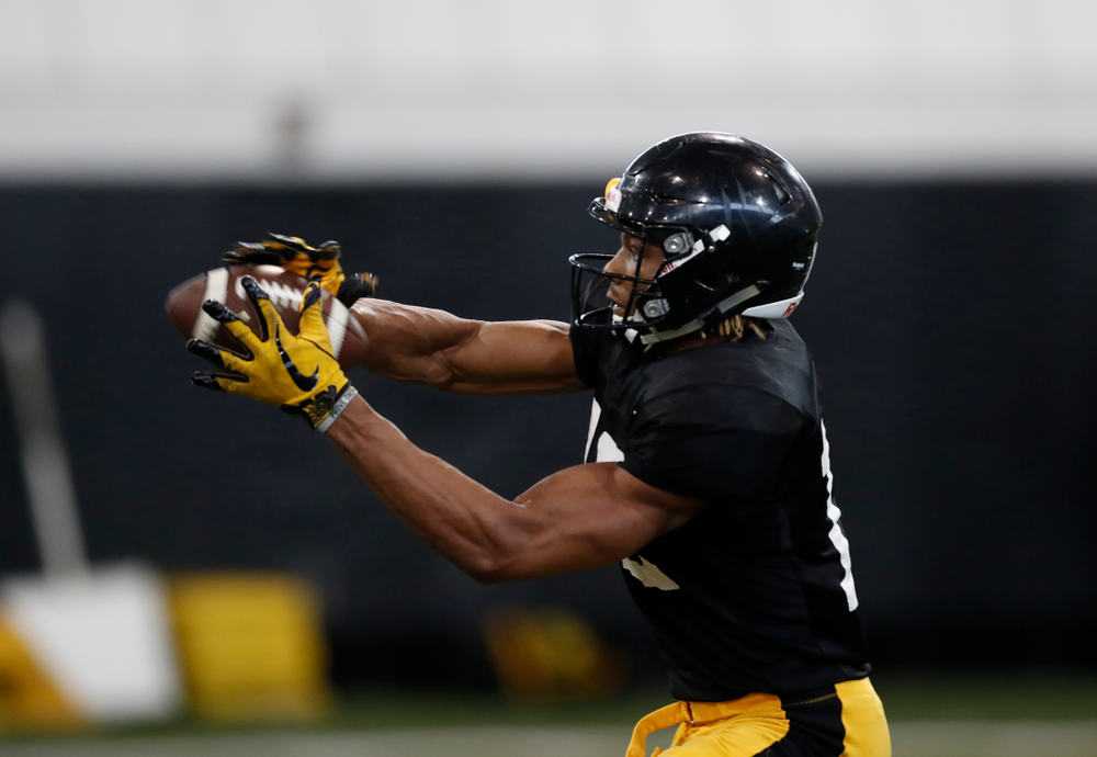 Iowa Hawkeyes wide receiver Brandon Smith (12) during spring practice  Saturday, March 31, 2018 at the Hansen Football Performance Center. (Brian Ray/hawkeyesports.com)