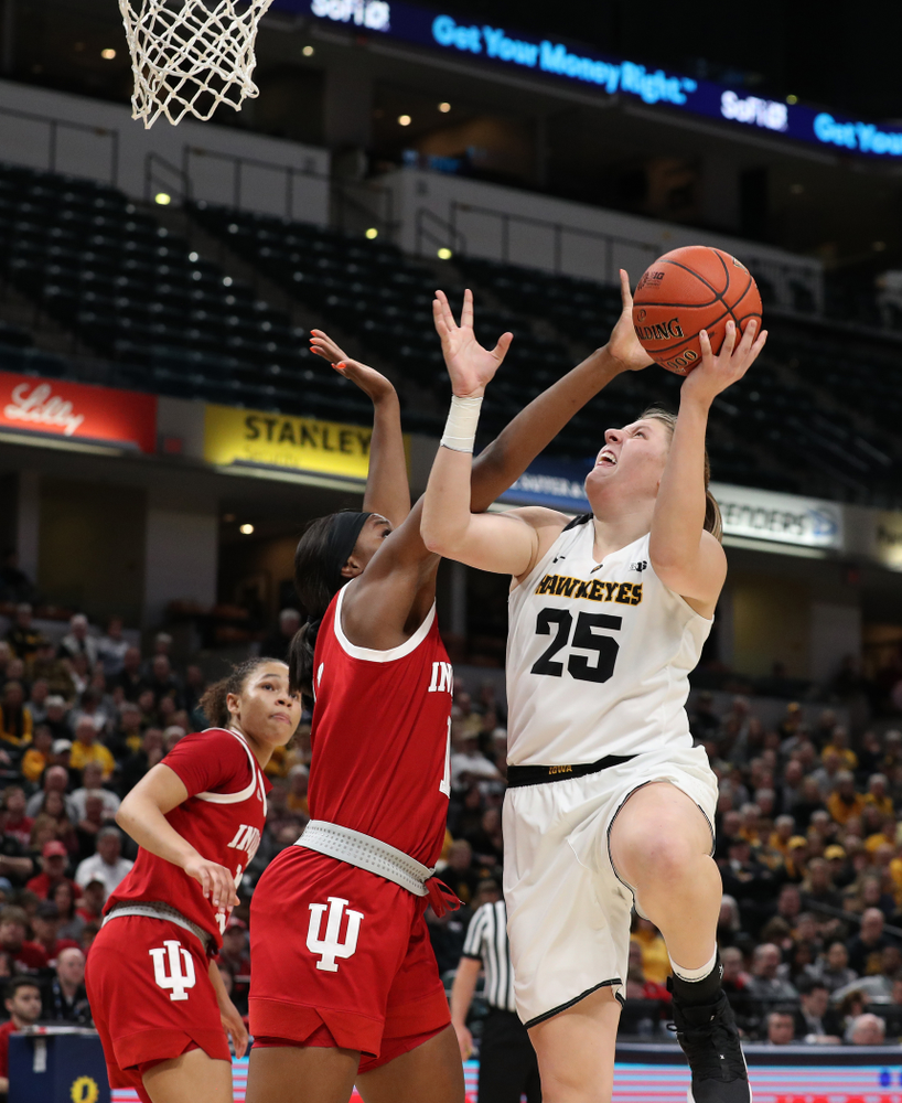 Iowa Hawkeyes center Monika Czinano (25) against the Indiana Hoosiers in the quarterfinals of the Big Ten Tournament Friday, March 8, 2019 at Bankers Life Fieldhouse in Indianapolis, Ind. (Brian Ray/hawkeyesports.com)