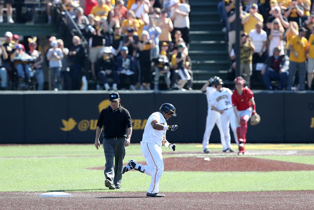 Iowa Hawkeyes Izaya Fullard (20) hits a home run against the Nebraska Cornhuskers Saturday, April 20, 2019 at Duane Banks Field. (Brian Ray/hawkeyesports.com)