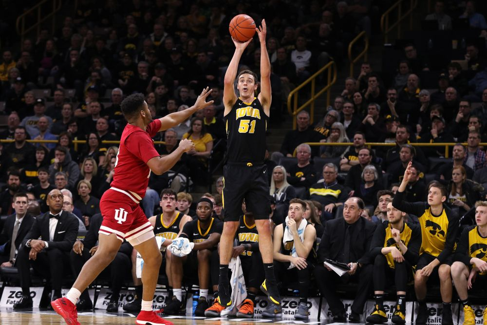 Iowa Hawkeyes forward Nicholas Baer (51) against the Indiana Hoosiers Friday, February 22, 2019 at Carver-Hawkeye Arena. (Brian Ray/hawkeyesports.com)