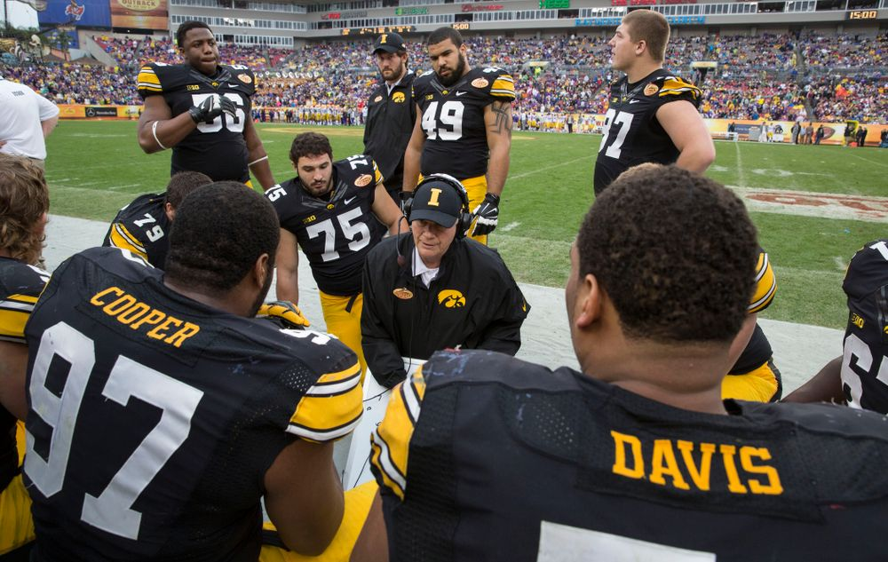 Iowa Hawkeyes defensive line coach Reese Morgan works with his unit during the second half of the Outback Bowl Jan. 1, 2014 in Tampa, Fla.  (Brian Ray/hawkeyesports.com)