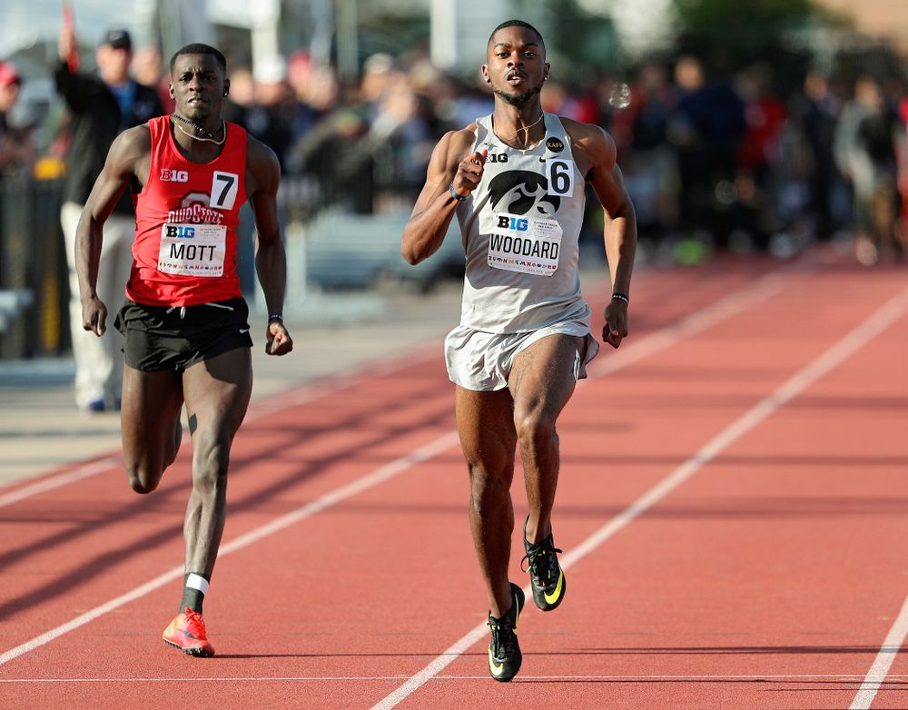 Iowa's Antonio Woodard runs the men's 200 meter dash event on the first day of the Big Ten Outdoor Track and Field Championships at Francis X. Cretzmeyer Track in Iowa City on Friday, May. 10, 2019. (Stephen Mally/hawkeyesports.com)