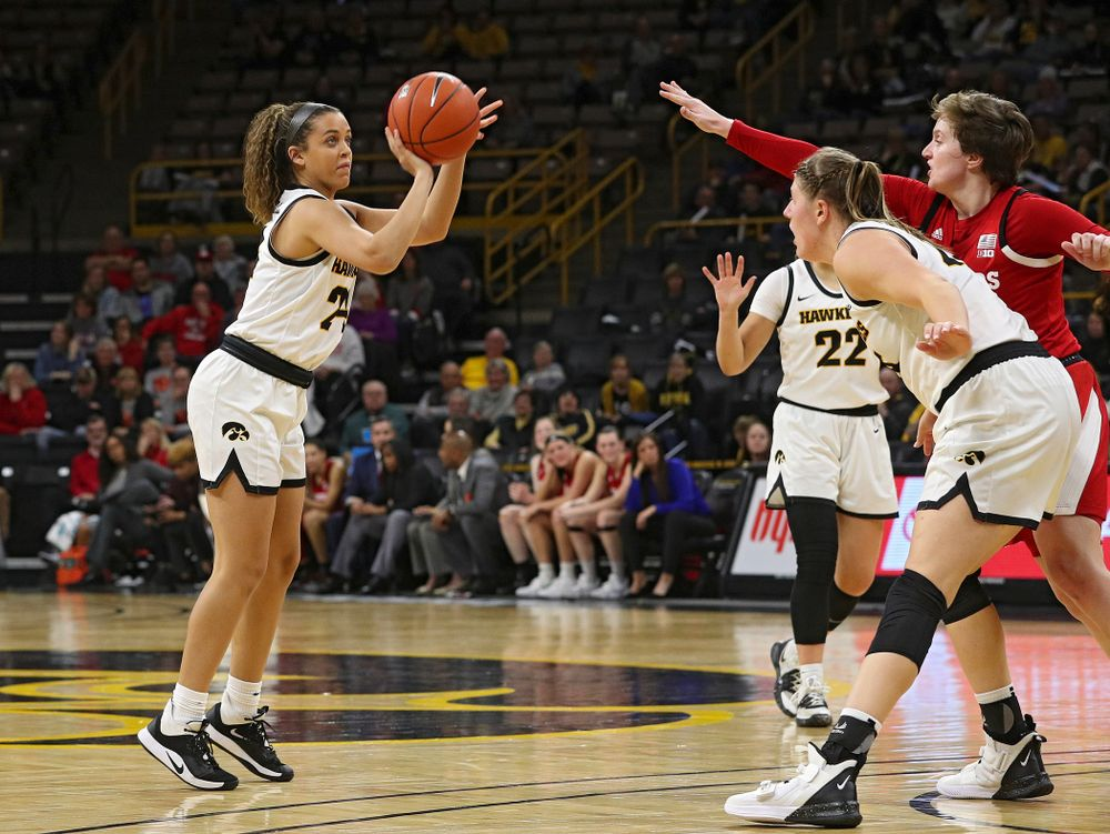 Iowa Hawkeyes guard Gabbie Marshall (24) puts up a shot during the fourth quarter of the game at Carver-Hawkeye Arena in Iowa City on Thursday, February 6, 2020. (Stephen Mally/hawkeyesports.com)