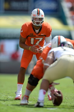 University of Miami Hurricanes quarterback Stephen Morris #17 plays in a game against the Wake Forest Demon Deacons at Sun Life Stadium on October 26,...