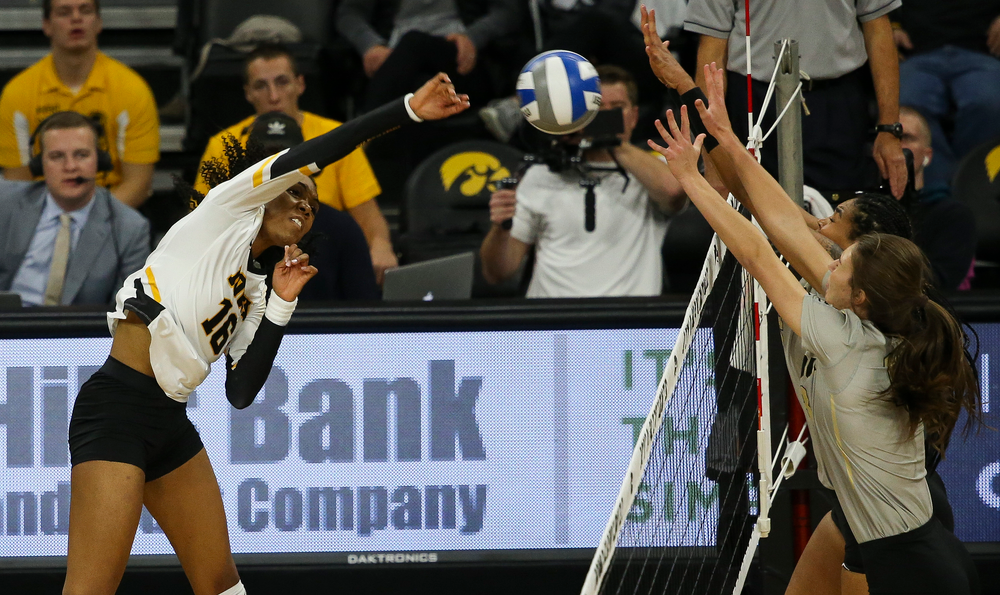 Iowa Hawkeyes outside hitter Taylor Louis (16) spikes the ball during a game against Purdue at Carver-Hawkeye Arena on October 13, 2018. (Tork Mason/hawkeyesports.com)