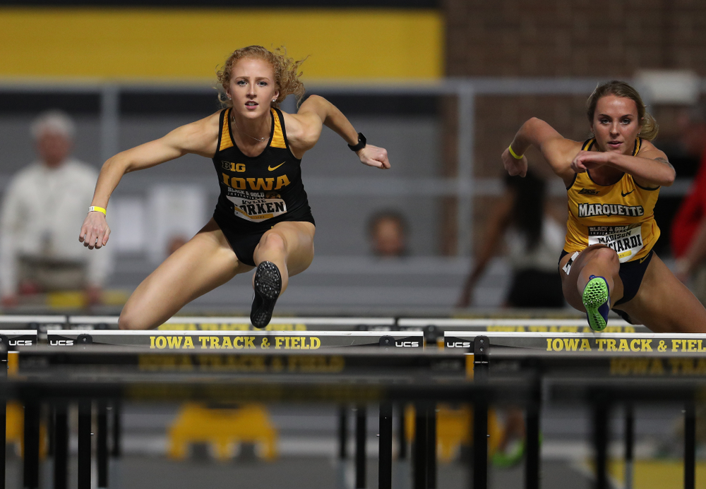 Iowa's Kylie Morken competes in the 60-meter hurdles during the Black and Gold Premier meet Saturday, January 26, 2019 at the Recreation Building. (Brian Ray/hawkeyesports.com)