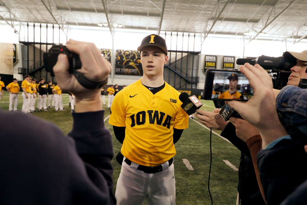 Iowa Hawkeyes Jack Dreyer (33) answers questions from reporters during their annual media day Thursday, February 6, 2020 at the Indoor Practice Facility. (Brian Ray/hawkeyesports.com)