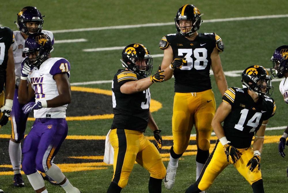 Iowa Hawkeyes fullback Brady Ross (36) against the Northern Iowa Panthers Saturday, September 15, 2018 at Kinnick Stadium. (Brian Ray/hawkeyesports.com)