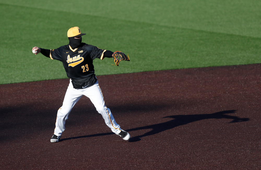 Iowa Hawkeyes infielder Kyle Crowl (23) against Grand View Wednesday, April 4, 2018 at Duane Banks Field. (Brian Ray/hawkeyesports.com)