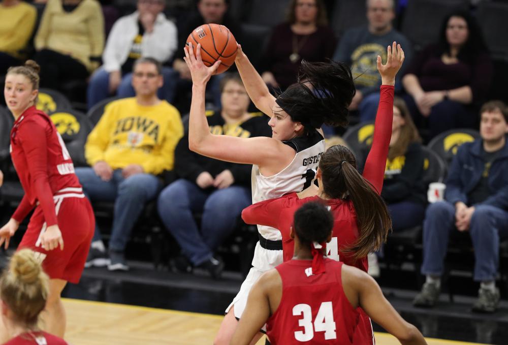 Iowa Hawkeyes forward Megan Gustafson (10) against the Wisconsin Badgers Monday, January 7, 2019 at Carver-Hawkeye Arena.  (Brian Ray/hawkeyesports.com)