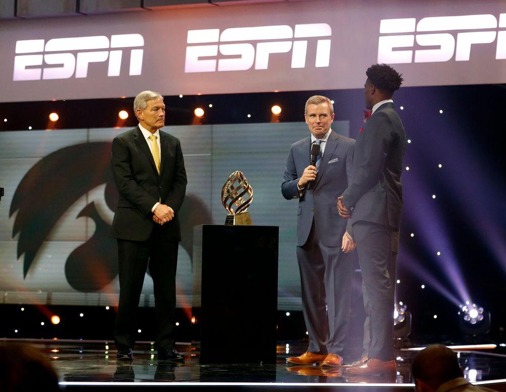 Kirk Ferentz, Tom Rinaldi, Joshua Jackson, The Disney Spirit Award