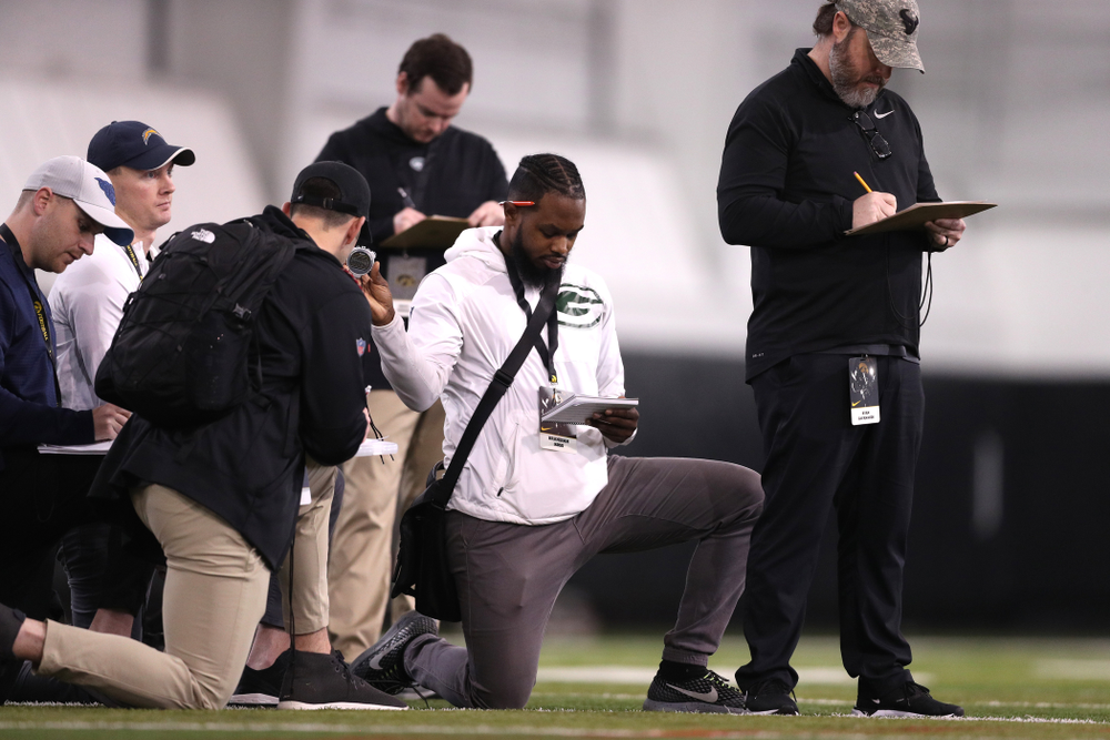 Scouts during Hawkeye FootballÕs annual Pro Day Monday, March 25, 2019 at the Hansen Football Performance Center. (Brian Ray/hawkeyesports.com)