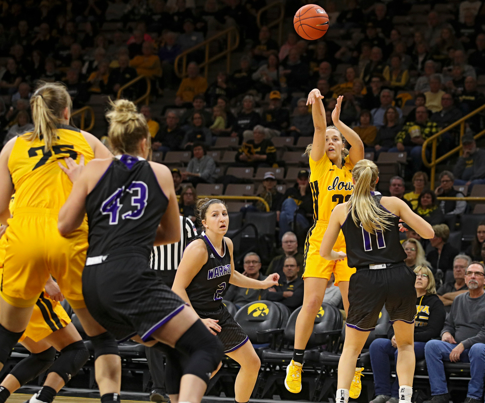 Iowa guard Kathleen Doyle (22) shoots during the first quarter of their game against Winona State at Carver-Hawkeye Arena in Iowa City on Sunday, Nov 3, 2019. (Stephen Mally/hawkeyesports.com)