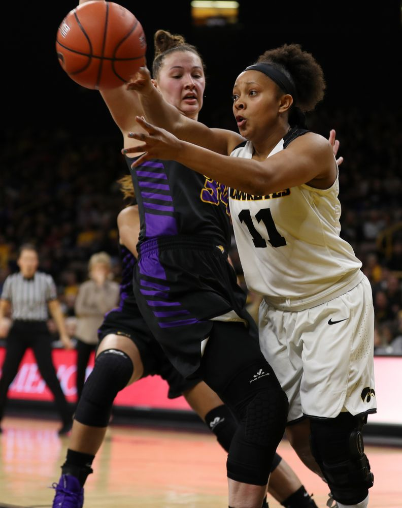 Iowa Hawkeyes guard Tania Davis (11) against the Northern Iowa Panthers in the Hy-Vee Classic Sunday, December 16, 2018 at Carver-Hawkeye Arena. (Brian Ray/hawkeyesports.com)