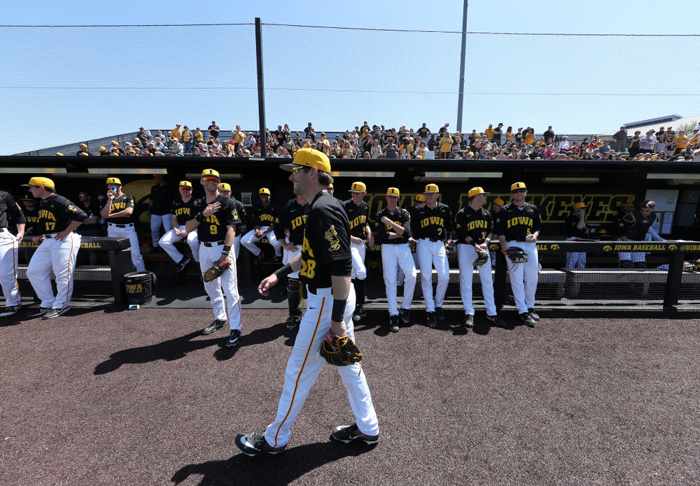 Iowa Hawkeyes Chris Whelan (28)  during game two against UC Irvine Saturday, May 4, 2019 at Duane Banks Field. (Brian Ray/hawkeyesports.com)