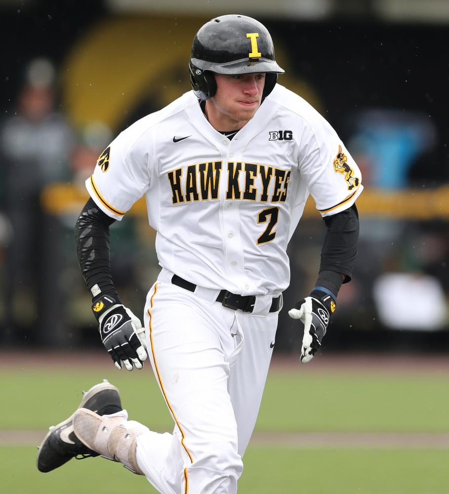 Iowa Hawkeyes infielder Brendan Sher (2) against Michigan State Sunday, May 12, 2019 at Duane Banks Field. (Brian Ray/hawkeyesports.com)