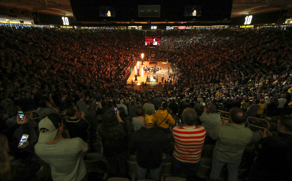 Fans look on during the Megan Gustafson jersey retirement ceremony at Carver-Hawkeye Arena in Iowa City on Sunday, January 26, 2020. (Stephen Mally/hawkeyesports.com)