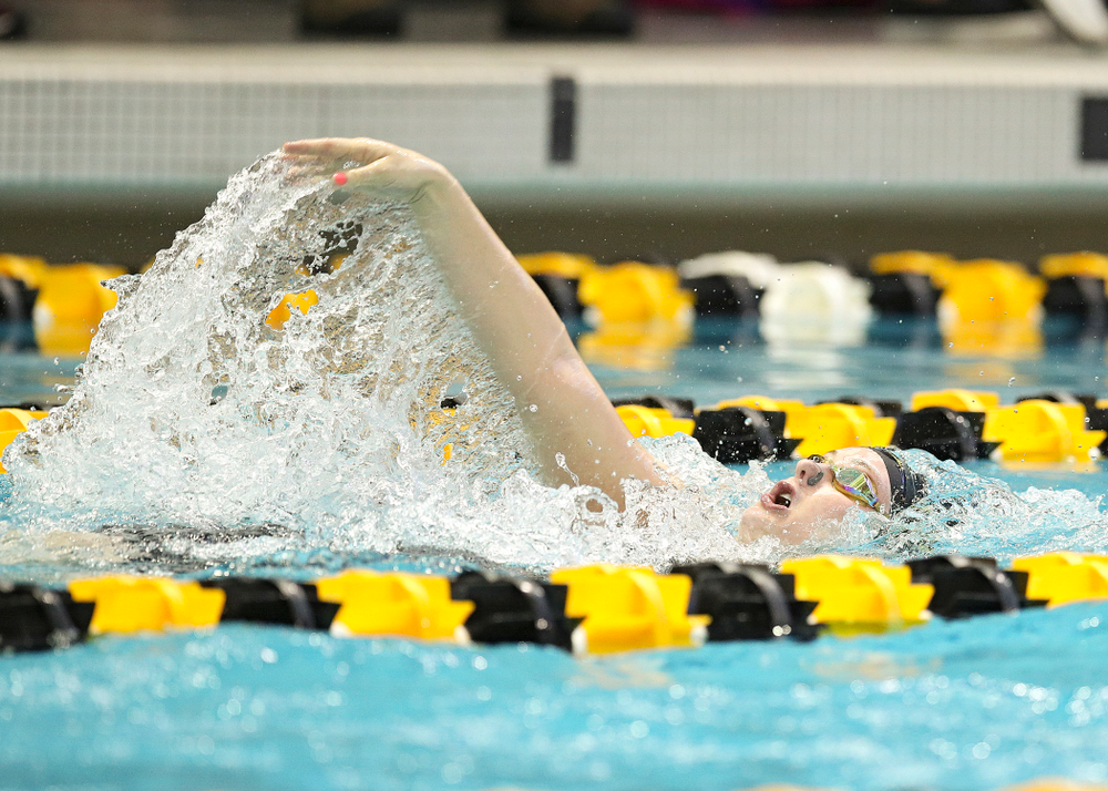 Iowa's Georgia Clark swims in the women's 200 yard backstroke preliminary event during the 2020 Women's Big Ten Swimming and Diving Championships at the Campus Recreation and Wellness Center in Iowa City on Saturday, February 22, 2020. (Stephen Mally/hawkeyesports.com)