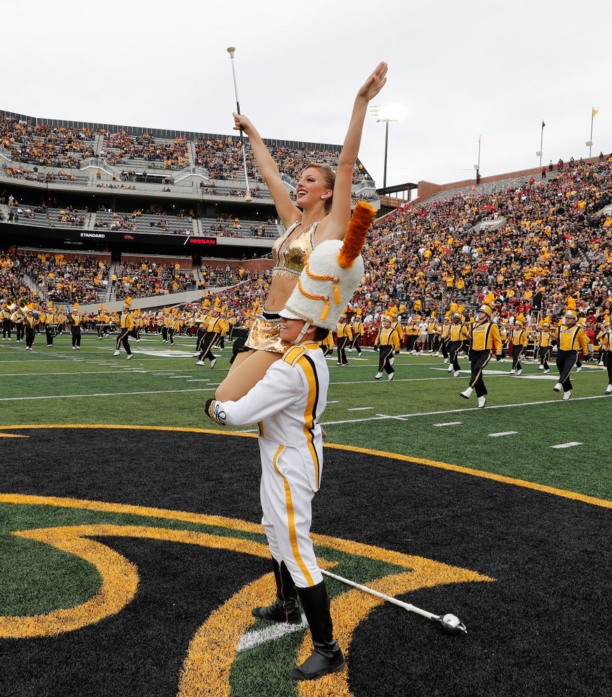 Hawkeye Marching Band Golden Girl Kylene Spanbauer and drum major Analisa Iole against the Iowa State Cyclones Saturday, September 8, 2018 at Kinnick Stadium. (Brian Ray/hawkeyesports.com)
