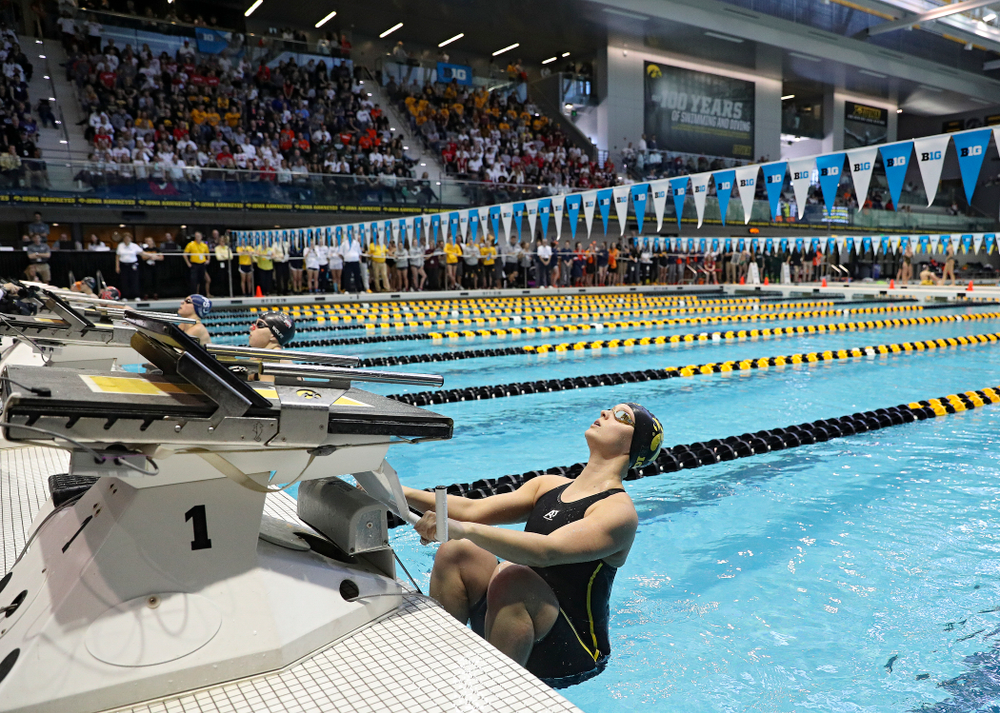 Iowa's Julia Koluch swims the women's 100 yard backstroke preliminary event during the 2020 Women's Big Ten Swimming and Diving Championships at the Campus Recreation and Wellness Center in Iowa City on Friday, February 21, 2020. (Stephen Mally/hawkeyesports.com)