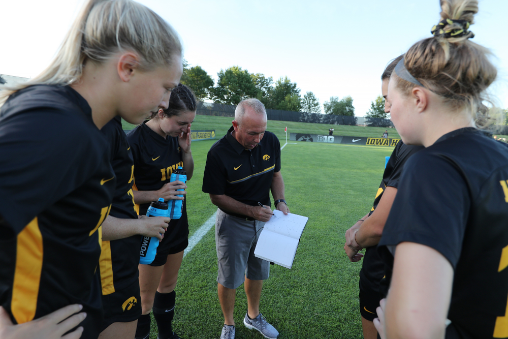 Iowa Hawkeyes head coach Dave DiIanni against Western Michigan Thursday, August 22, 2019 at the Iowa Soccer Complex. (Brian Ray/hawkeyesports.com)