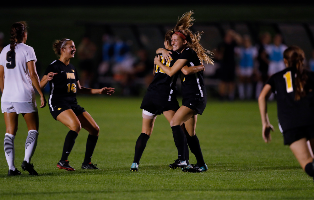 Iowa Hawkeyes Natalie Winters (10) celebrates after scoring against the Purdue Boilermakers Thursday, September 20, 2018 at the Iowa Soccer Complex. (Brian Ray/hawkeyesports.com)