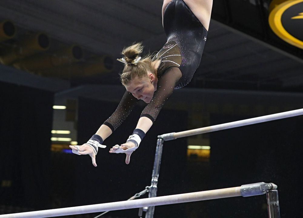 Iowa's Allyson Steffensmeier competes on the bars during their meet at Carver-Hawkeye Arena in Iowa City on Sunday, March 8, 2020. (Stephen Mally/hawkeyesports.com)
