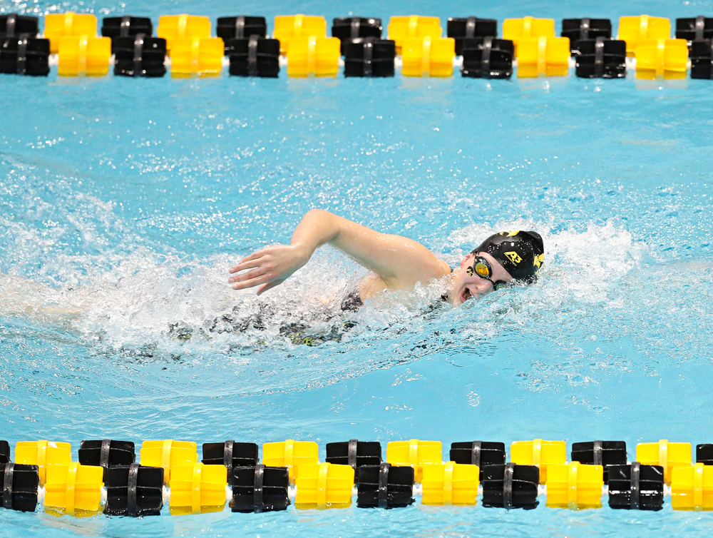 Iowa's Taylor Hartley swims the women's 200 yard freestyle preliminary event during the 2020 Women's Big Ten Swimming and Diving Championships at the Campus Recreation and Wellness Center in Iowa City on Friday, February 21, 2020. (Stephen Mally/hawkeyesports.com)