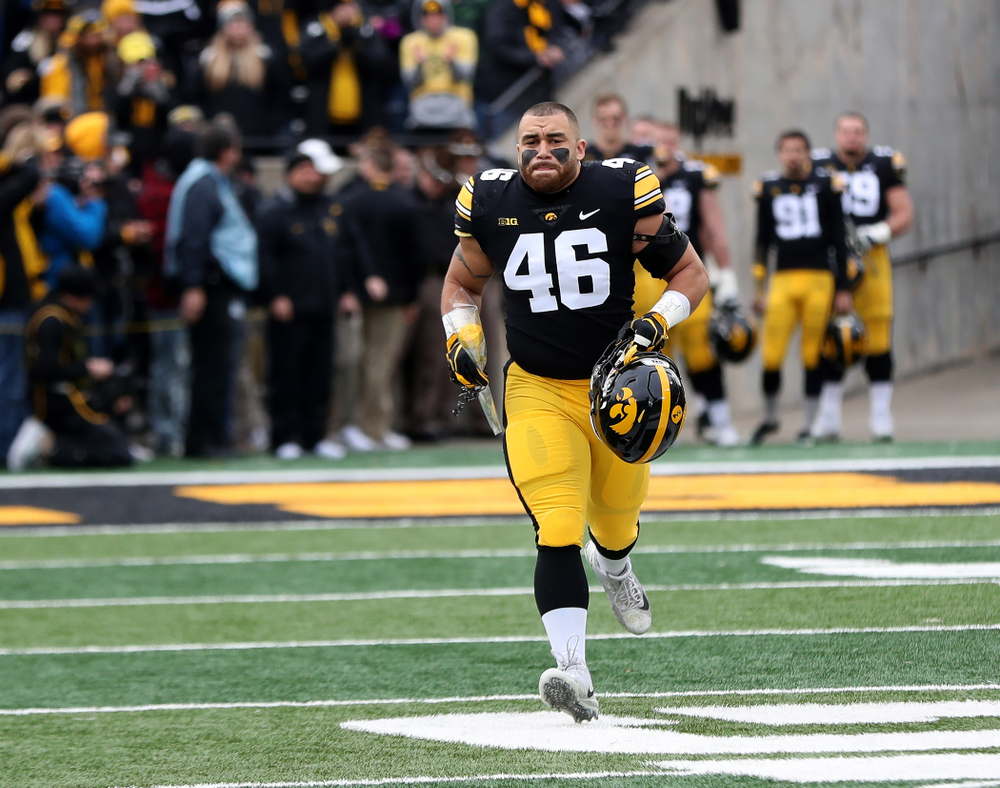 Iowa Hawkeyes fullback Austin Kelly (46) during senior day activities before their game against the Nebraska Cornhuskers Friday, November 23, 2018 at Kinnick Stadium. (Brian Ray/hawkeyesports.com)