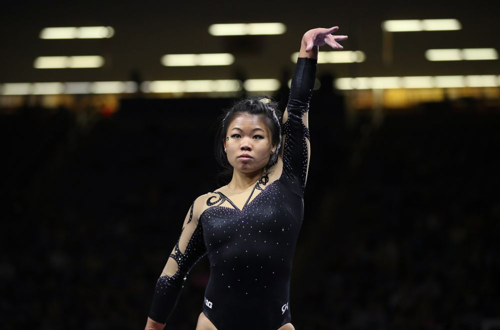 Iowa's Misty-Jade Carlson competes on the beam during their meet against Southeast Missouri State Friday, January 11, 2019 at Carver-Hawkeye Arena. (Brian Ray/hawkeyesports.com)