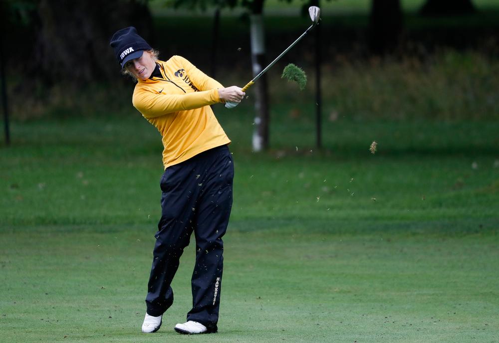 Iowa's Kristin Glesne hits an approach shot during the Diane Thomason Invitational at Finkbine Golf Course on September 29, 2018. (Tork Mason/hawkeyesports.com)