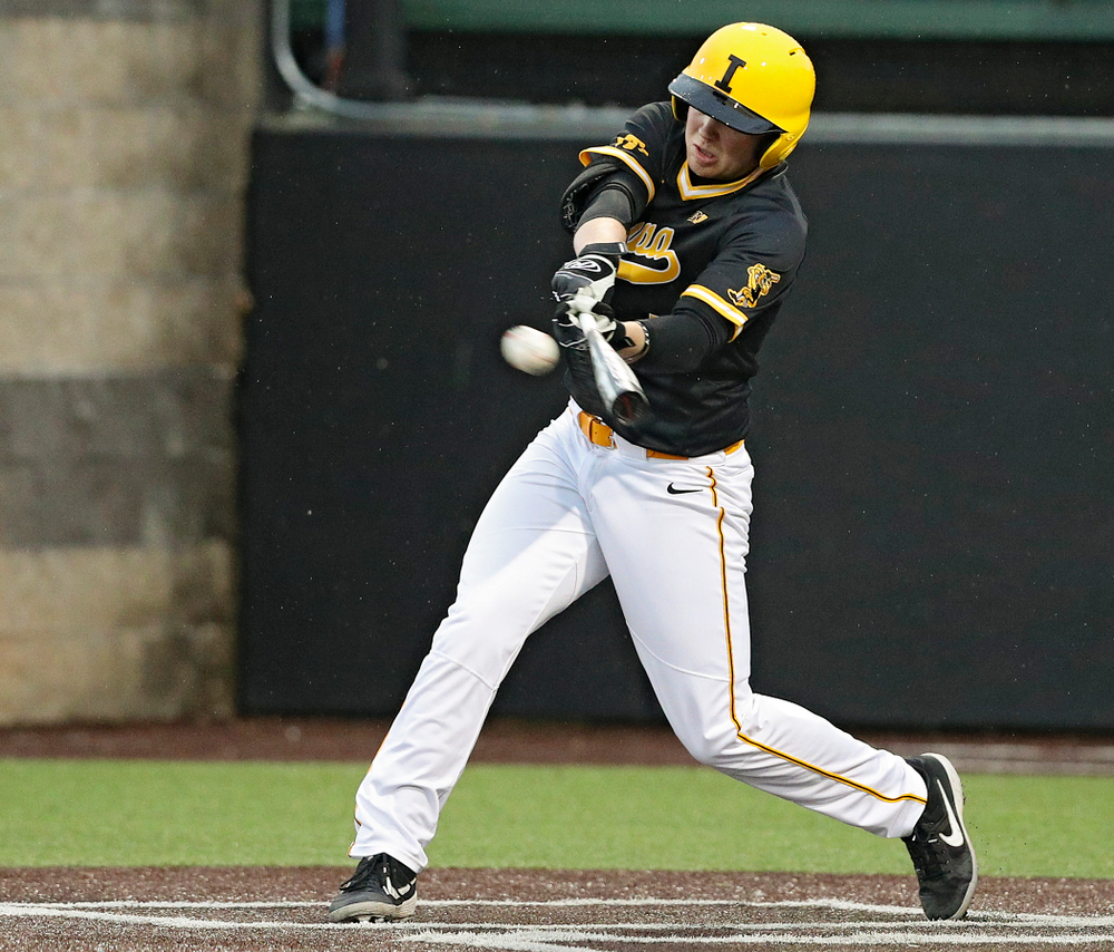 Iowa Hawkeyes first baseman Zeb Adreon (5) bats during the sixth inning of their game against Illinois State at Duane Banks Field in Iowa City on Wednesday, Apr. 3, 2019. (Stephen Mally/hawkeyesports.com)