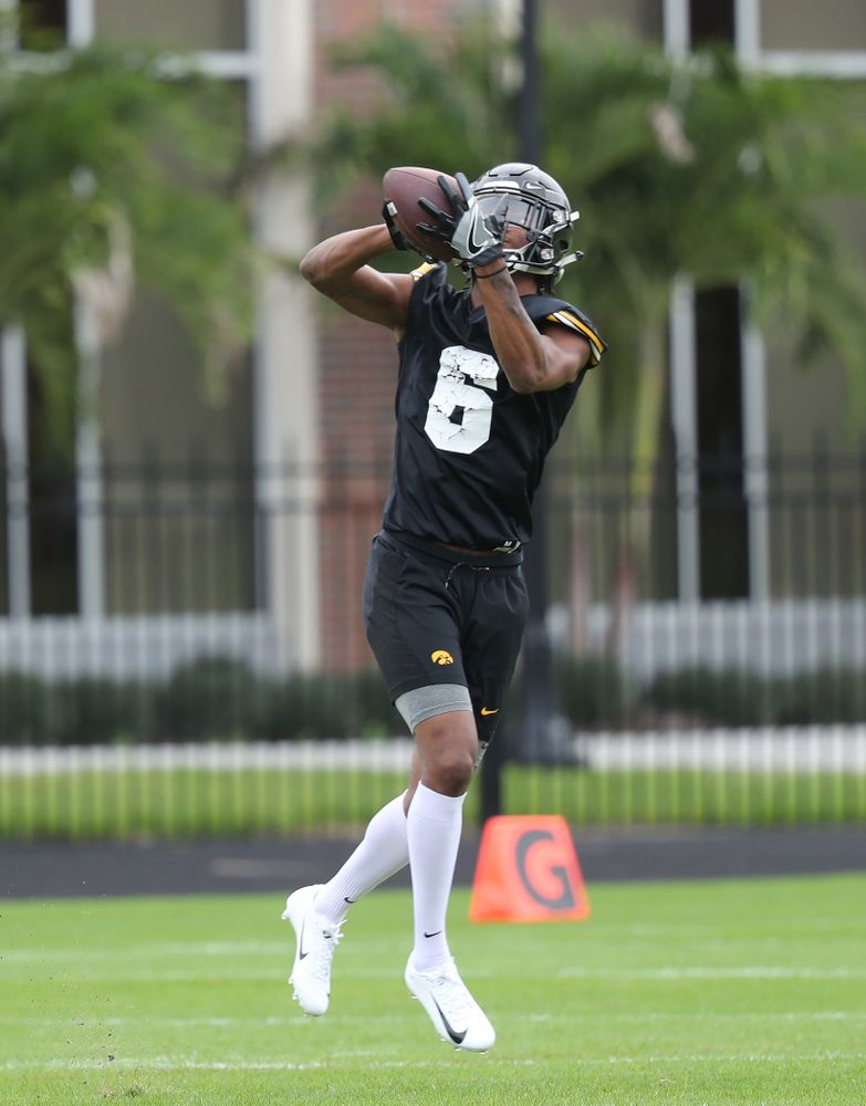 Iowa Hawkeyes wide receiver Ihmir Smith-Marsette (6) during the team's first Outback Bowl Practice in Florida Thursday, December 27, 2018 at Tampa University. (Brian Ray/hawkeyesports.com)