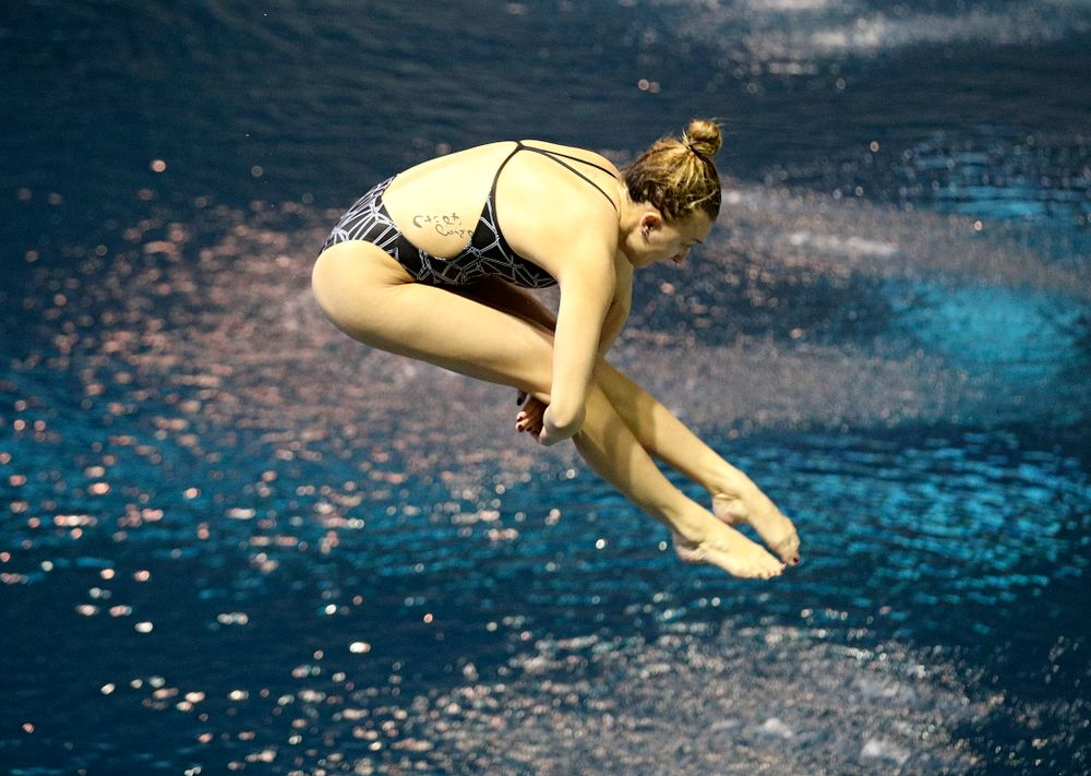 Iowa's Samantha Tamborski competes in the women's 1 meter diving preliminary event during the 2020 Women's Big Ten Swimming and Diving Championships at the Campus Recreation and Wellness Center in Iowa City on Thursday, February 20, 2020. (Stephen Mally/hawkeyesports.com)