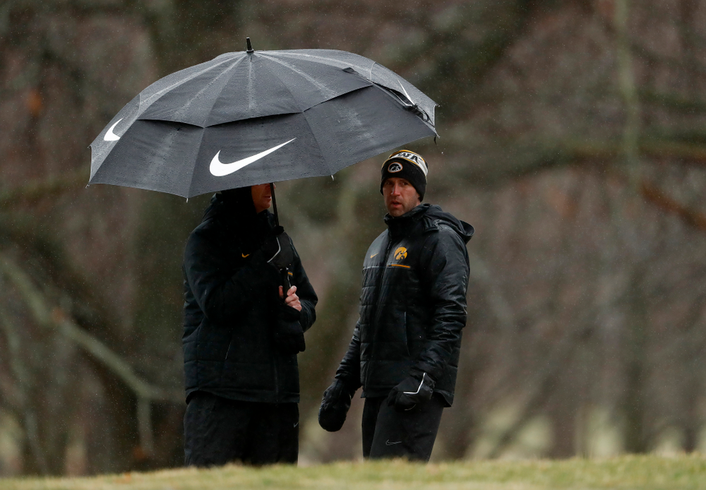 Iowa Men's Golf Head Coach Tyler Stith and assistant coach Jeff Schmid during day two of the 2018 Hawkeye Invitational Friday, April 13, 2018 at Finkbine Golf Course. (Brian Ray/hawkeyesports.com)